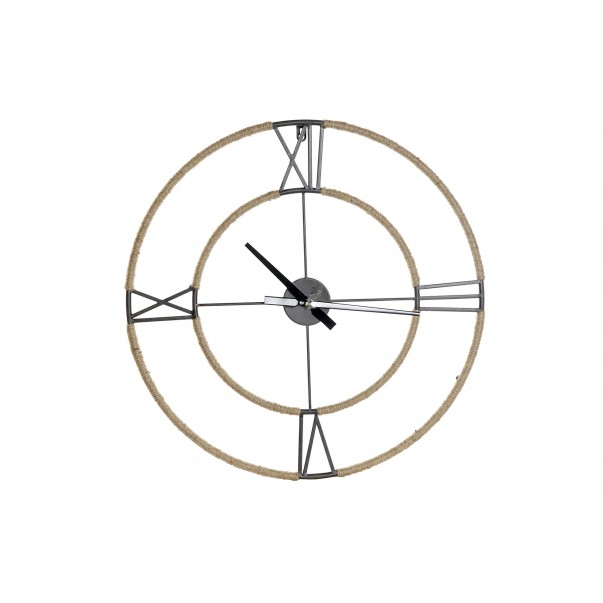 Metal wall clock with rope 60 cm x 60 cm