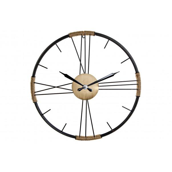 Metal wall clock with rope dark gray 60 cm x 60 cm